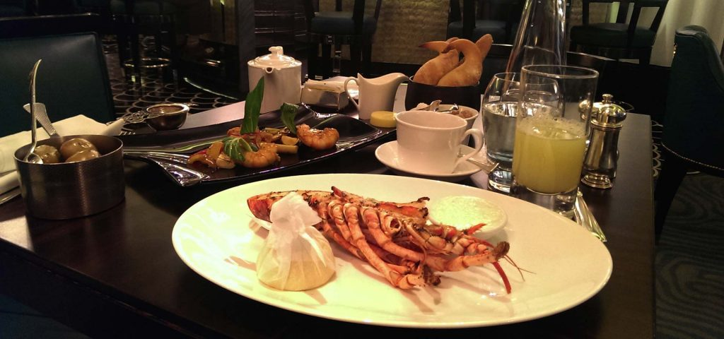 Seafood dinner at Savoy hotel restaurant in London