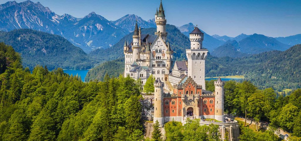 World-famous Neuschwanstein Castle, the nineteenth-century Romanesque Revival palace