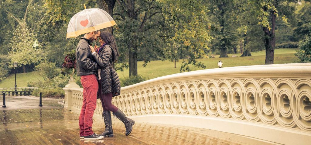 Beautiful Couple in rainy day in central park, New york.