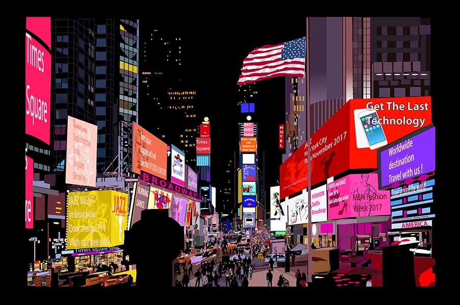 Times Square at night, NYC
