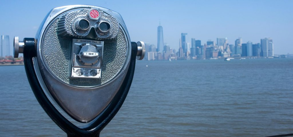 Telescope with new york city skyline