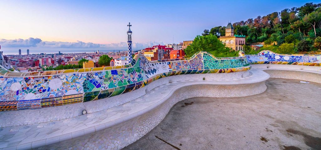 Barcelona Spain cityscape in park Guell