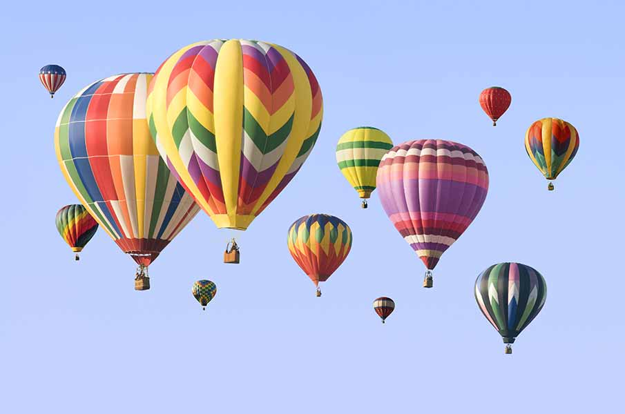A group of colorful hot-air balloons
