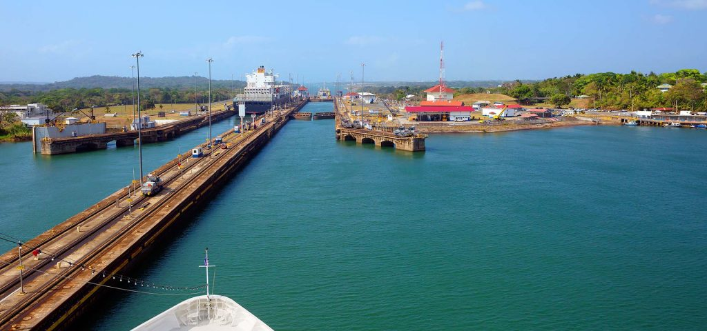 Panama canal from the Pacific ocean