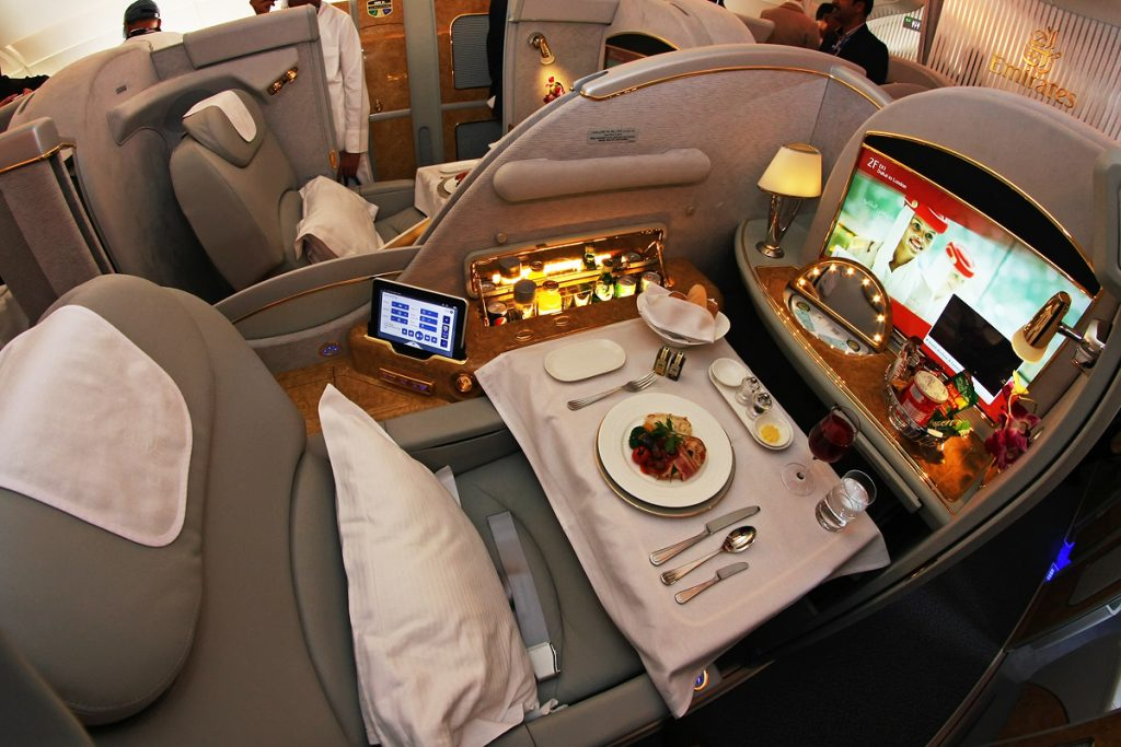 First Class Flight A380 of Emirates Airlines