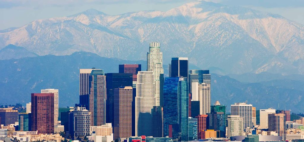 Los Angeles with mountains in the background