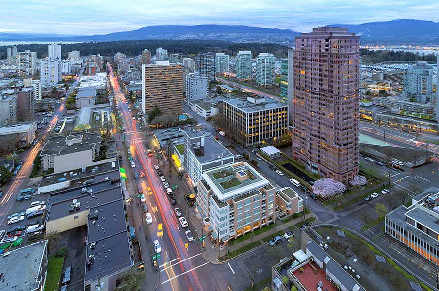 Vancouver BC Canada Cityscape with Robson Street Light