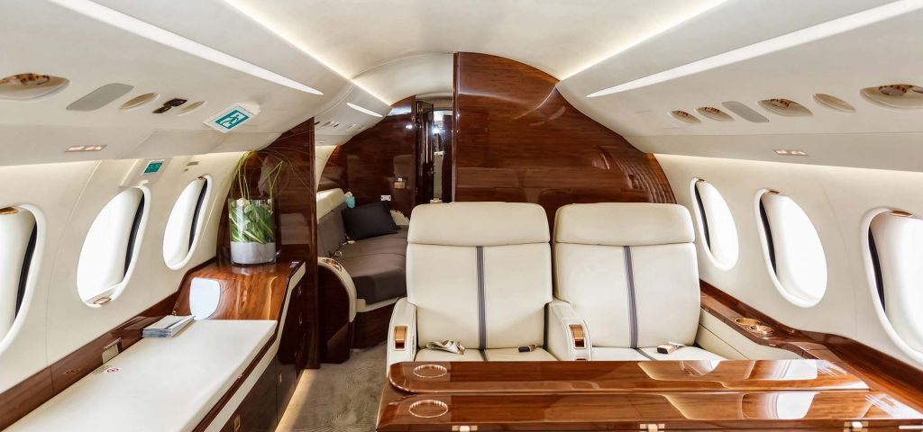 Luxury business class coach in Airplane