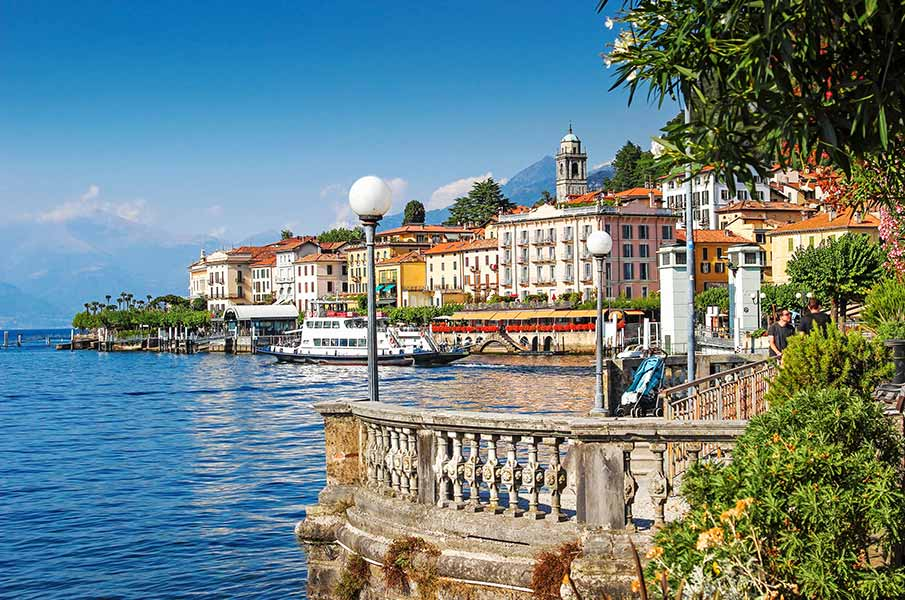 Como lake and Bellagio town in summer, Italy.