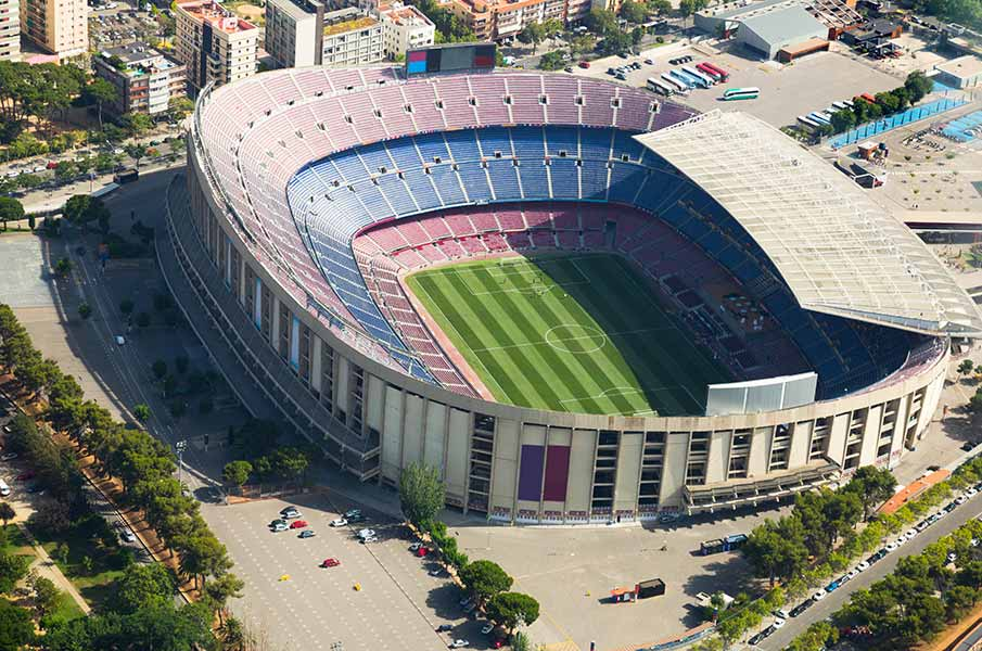 Camp Nou is a famous footbal stadium in Barcelona
