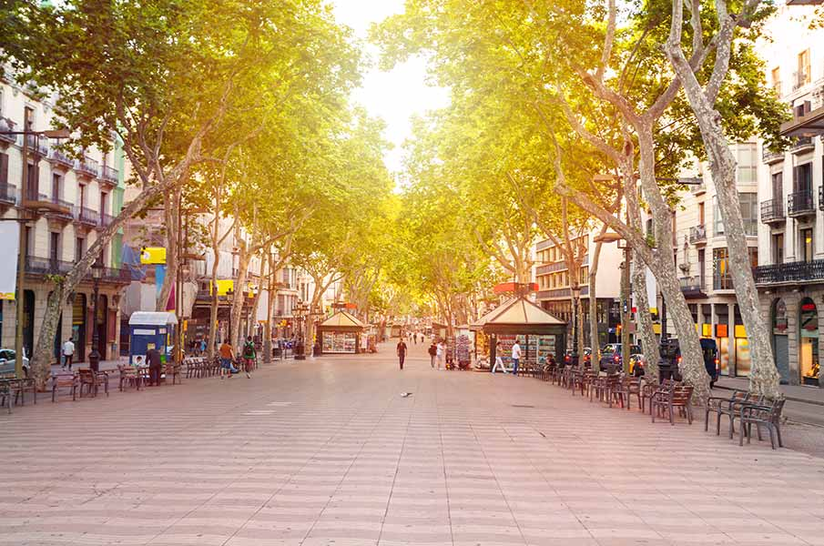 The most popular street in Barcelona, Spain