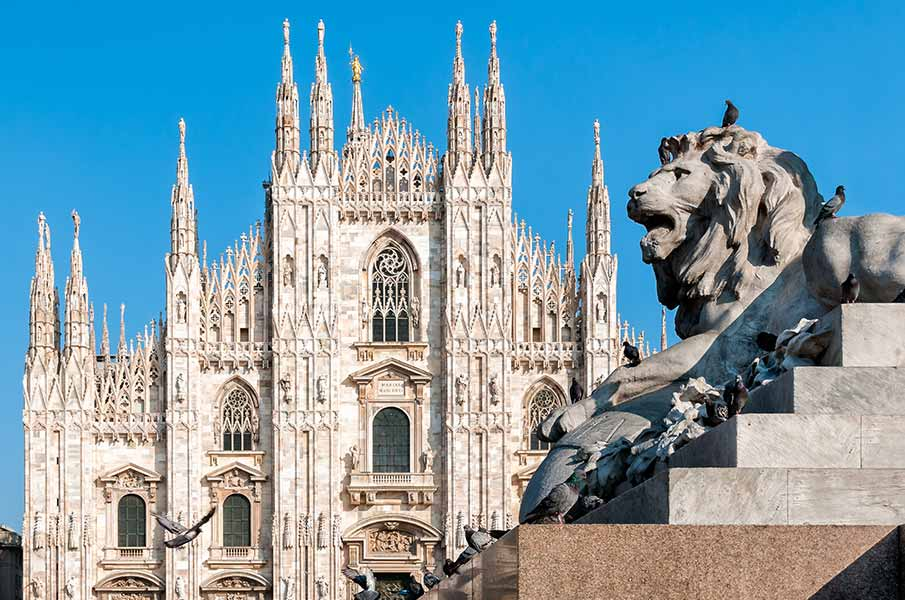 Milan Cathedral with monument of lion, Italy