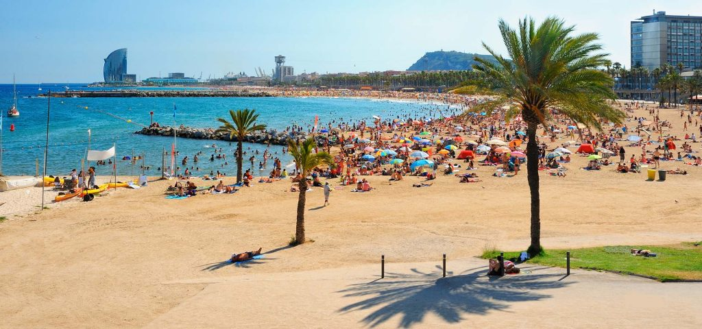 Barcelona beach on a summer day