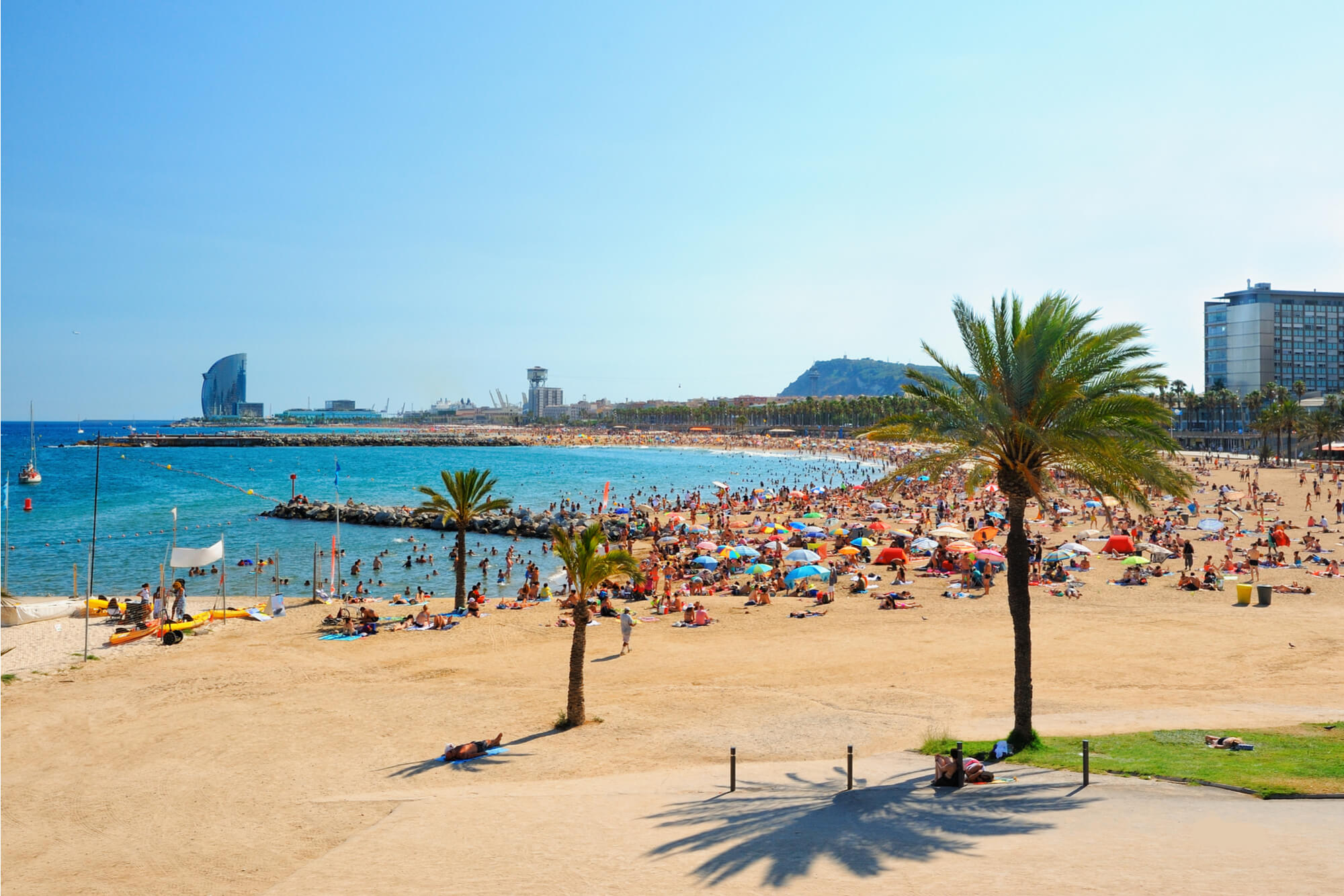 View of Barcelona beach in summer