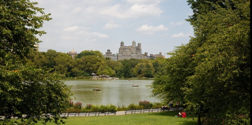 American Museum of Natural History building and Lake in New York