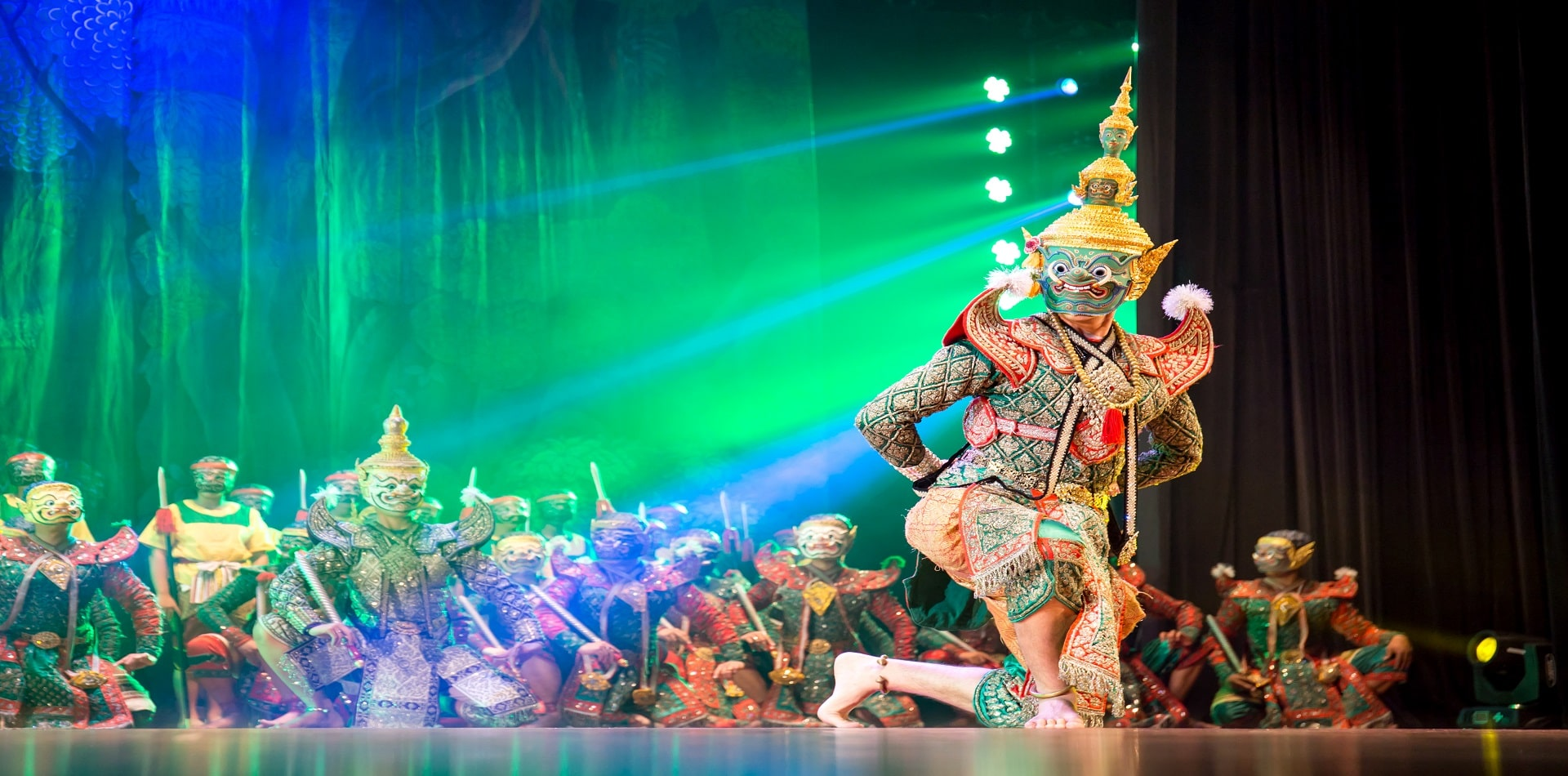 The traditional dance of arts perform on the stage in Thailand.