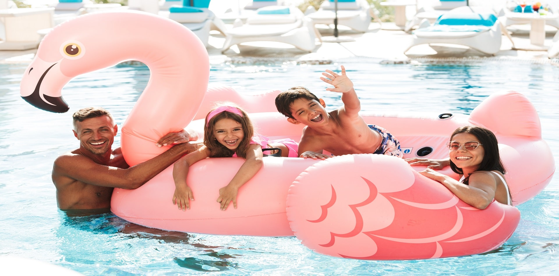 swimming with inflatable flamingo