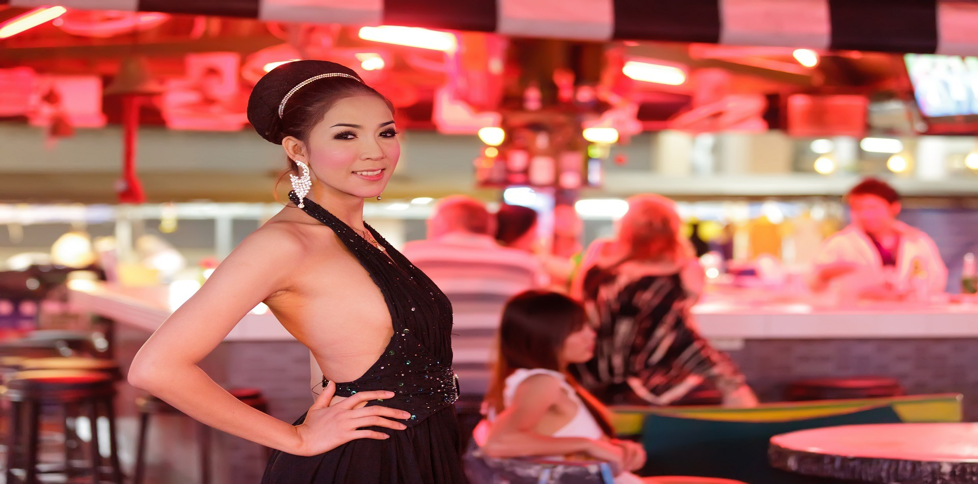 Thai ladyboy posing in gogo bar, pattaya, thailand in a show