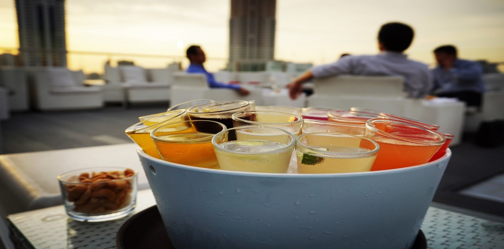 Rainbow cocktail at rooftop bar