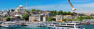 Tourist boats in Golden Horn bay of Istanbul