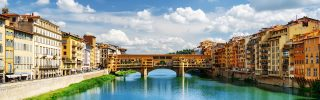 Holy Trinity Bridge in Florence, It's a popular tourist destination of Europe.