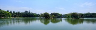 Beautiful lake in Lal Bagh Botanical Garden, one of the tourist attractions in Bangalore