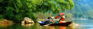 Traveling by boat - Streams YEN in Hanoi, Vietnam