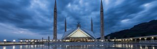 The Shah Faisal Mosque (Masjid) at twilight in Islamabad