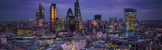 Panoramic skyline view of Bank district of London