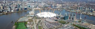 Drone bird's eye view of iconic concert Hall, London