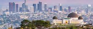 downtown skyline from Griffith Park in Los Angeles, CA