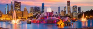Buckingham fountain at twilight