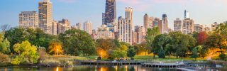 Chicago, Illinois, downtown skyline from Lincoln Park