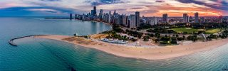 North Ave Beach Sunset Panorama in Chicago