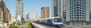 Metro train on the sky line in Bangkok